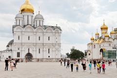 Sobornaya square of moscow kremlin Stock Photos