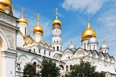 Golden domes of moscow kremlin cathedrals Stock Photos