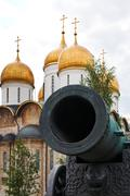 tsar cannon and dormition cathedral, moscow - stock photo