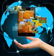 Holding mobile smart phone with world technology background Stock Illustration