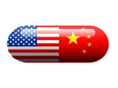 American and Chinese pill Stock Illustration