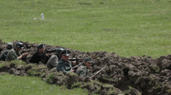 Soldiers in the trenches during the battle. Editorial Stock Footage