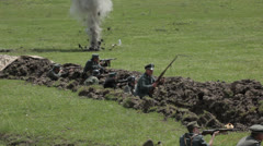 Soldiers in the trenches during the battle. Editorial - stock footage