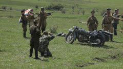 Reconstruction of hostilities. World War II. Editorial - stock footage