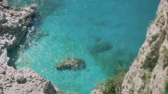 Turquoise Azure Blue Paradise Bay Capri Italy - 29,97FPS NTSC Stock Footage