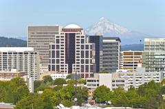 portland oregon skyline with mt. hood. - stock photo