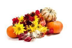 autumn floral arrangement on white - stock photo