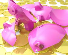 broken piggybank shows monetary crisis - stock illustration