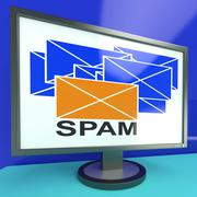 Spam envelope on monitor showing malicious messages Stock Illustration