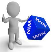 Stock Illustration of win dice showing success winner succeed