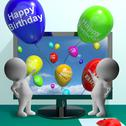 Stock Illustration of balloons greeting from computer celebrates happy birthday