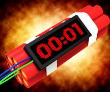 Stock Illustration of dynamite deadline time showing urgency or explosion