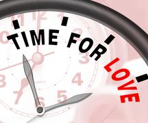 Time for love message shows romance and feelings Stock Illustration