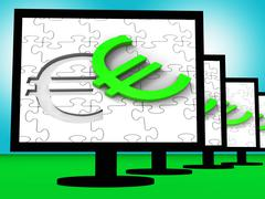 euro symbol on monitors showing european wealth - stock illustration