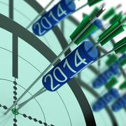 2014 accurate dart target shows successful future - stock illustration