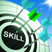 skill on dartboard showing expertise - stock illustration