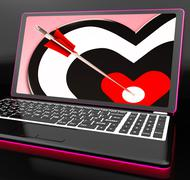 Target heart on laptop shows affection Stock Illustration