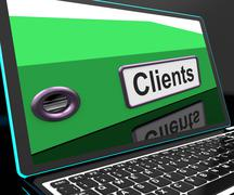 Clients file on laptop shows customers records Stock Illustration