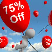 Balloon with 75% off showing sale discount of seventy five percent Stock Illustration