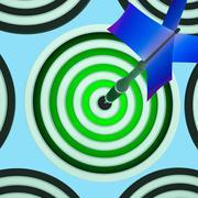 target shows triumph, winning shot and achievement - stock illustration