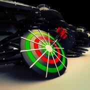 Bulls eye target dart shows successful business performance Stock Illustration