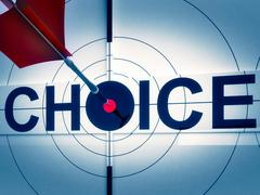 Stock Illustration of target choice shows two-way path decision