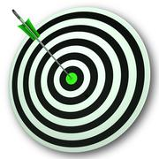 bulls eye target shows perfect accuracy and focus - stock illustration