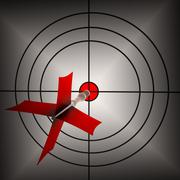 arrow aiming on dartboard shows aiming accuracy - stock illustration