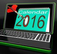 Calendar 2016 on laptop showing future websites Stock Illustration
