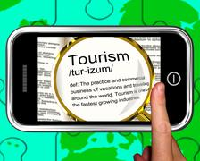 Stock Illustration of tourism definition on smartphone shows traveling abroad
