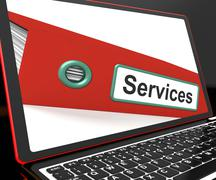 Services file on laptop shows services records Stock Illustration