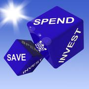 Spend, save, invest dice showing budgeting Stock Illustration
