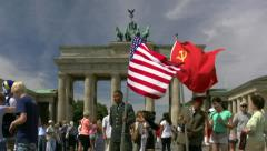 US and Russian Soldier at Brandenburg Gate - Berlin, Germany Stock Footage