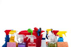Various cleaning supplies on a white background Stock Photos
