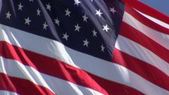 American Flag CU Waving - Real Time - stock footage