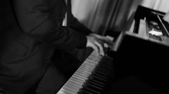 Piano black and white 003 Stock Footage