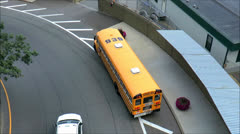 School Bus street parked, top view Stock Footage