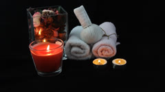 aroma candle and spa setting - stock footage