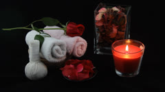 Rose candle spa Stock Footage