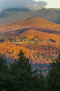 fall foliage on mt. mansfield in stowe, vermont, usa - stock photo