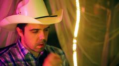 Cowboy smoker southern south Stock Footage
