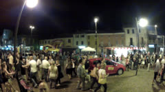 Crowd in the small square Stock Footage