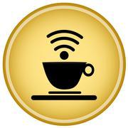 Coffee Cup Internet Wifi - stock illustration