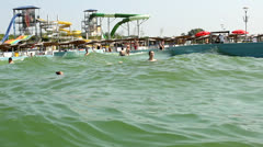 Waves in aqua park Stock Footage