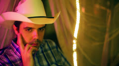 Cowboy southerner wait waiting impatiently Stock Footage