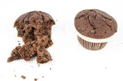 Sweet food - Dessert - Chocolate muffin and crumbs - stock photo
