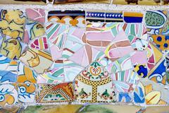 gaudi mosaic work at park guell - stock photo