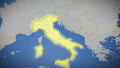 Italy on map of Europe. Country pull out. Blue background Stock Footage
