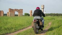 Riding Scrambler Motorcycle 07 Stock Footage