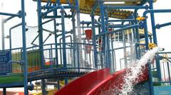 Aqua park joy and happines Stock Footage